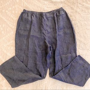FLAX Linen Pull On Cropped Loose Fit Pants blue L